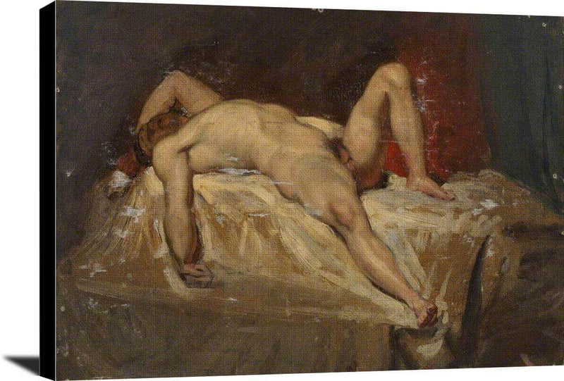 Male Nude Lying Down Raised Left Knee William Etty