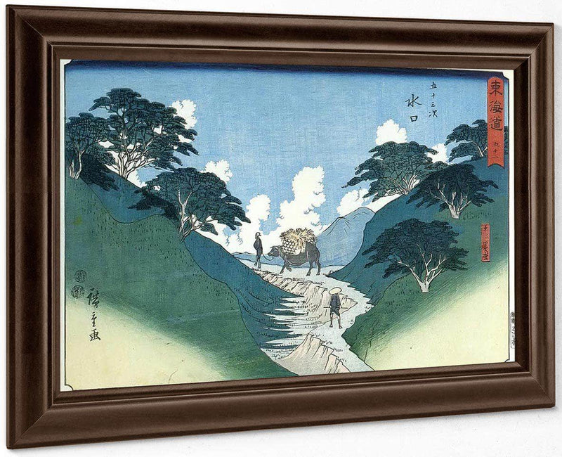 Man Leading An Ox Between Mountain Slopes By Hiroshige