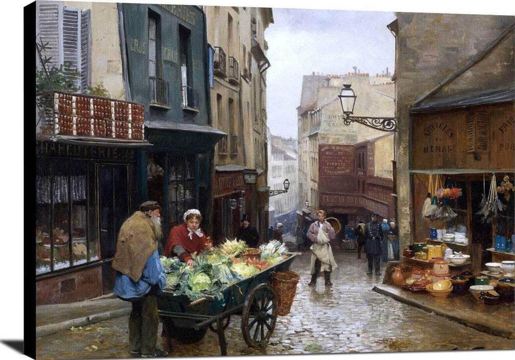 Market On The Rue Mouffetard, Paris Painting Victor Gabriel Gilbert Canvas Art