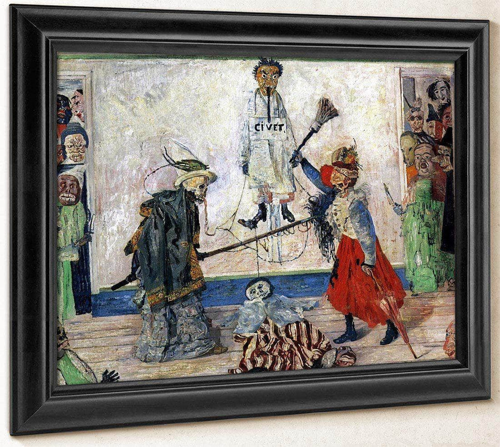 Masks Fighting Over A Hanged Man By James Ensor