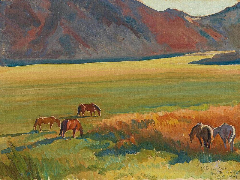 Meadow And Horses By Maynard Dixon