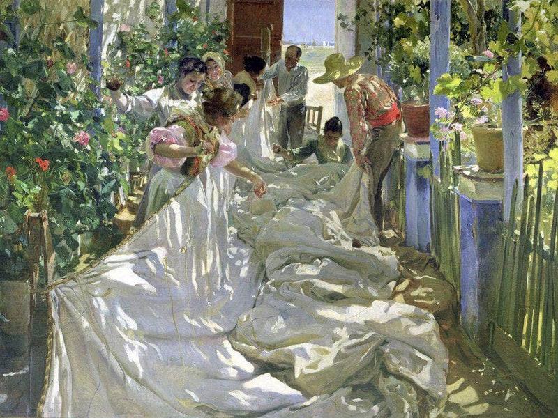 Mending The Sail By Joaquin Sorolla Y Bastid