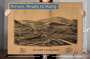 Millers Falls Mass Vintage Map