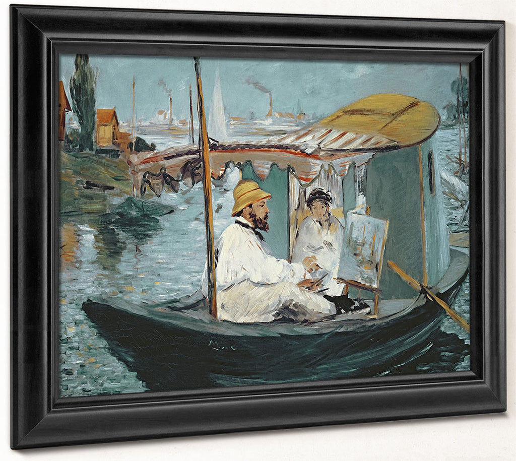 Monet In His Floating Studio By Edouard Manet