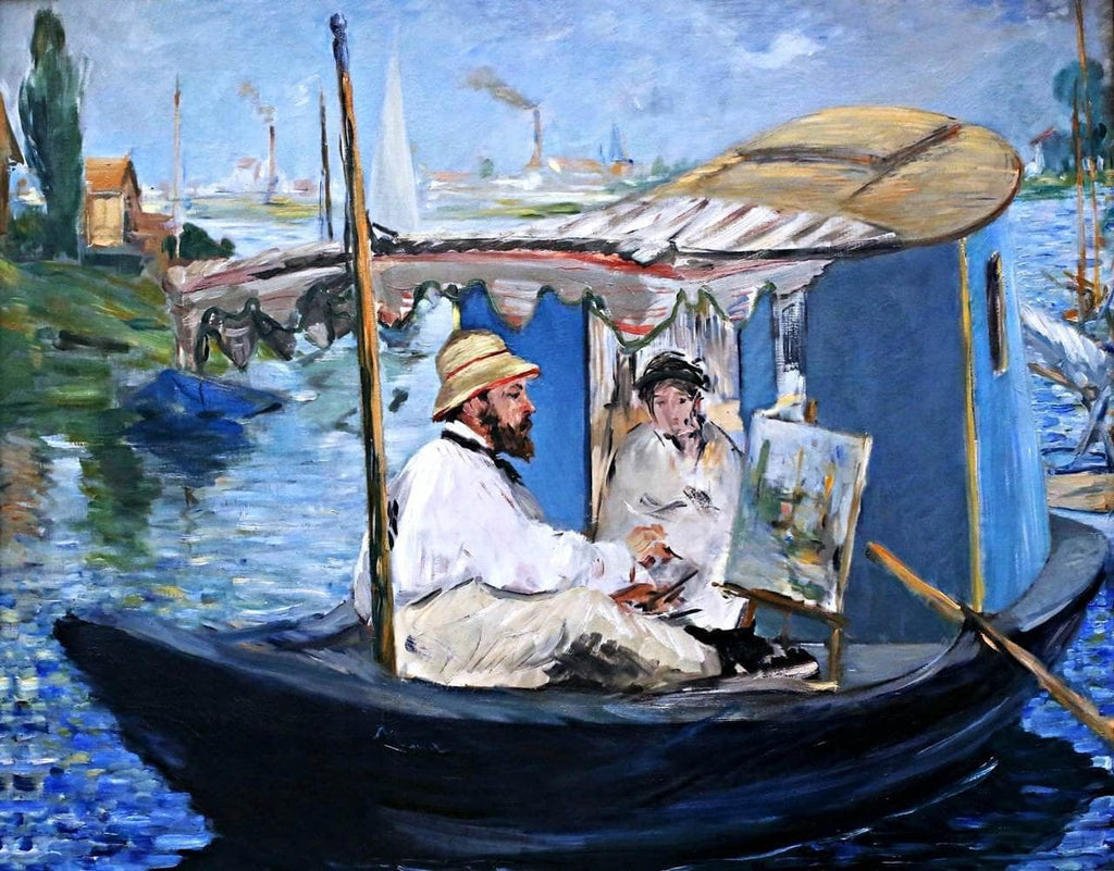 Monet Painting On His Studio Boat Painting Edouard Manet Canvas Art