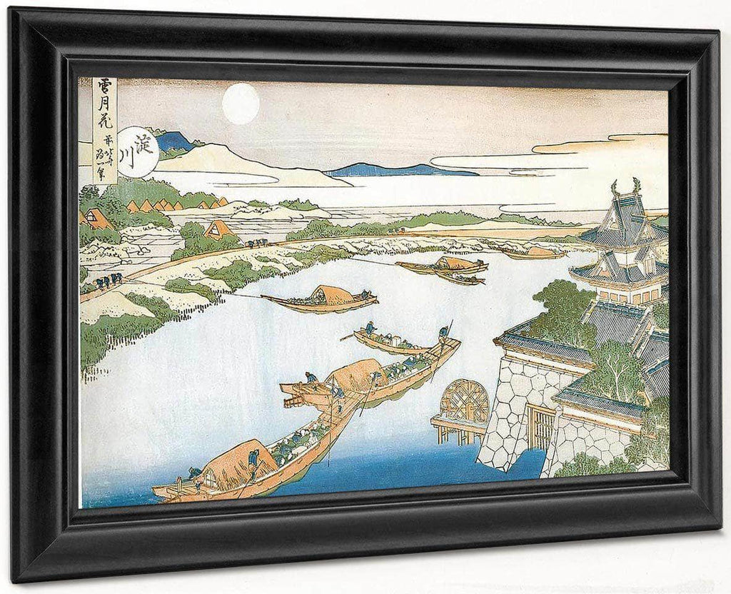 Moon Above Yodo River And Osaka Castle By Hokusai