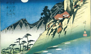 Moon Over A Mountain Landscape By Hiroshige