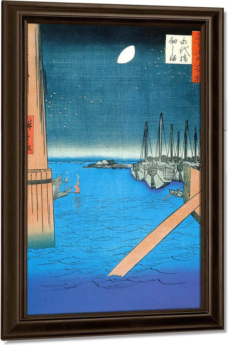 Moored Boats In The Evening By Hiroshige