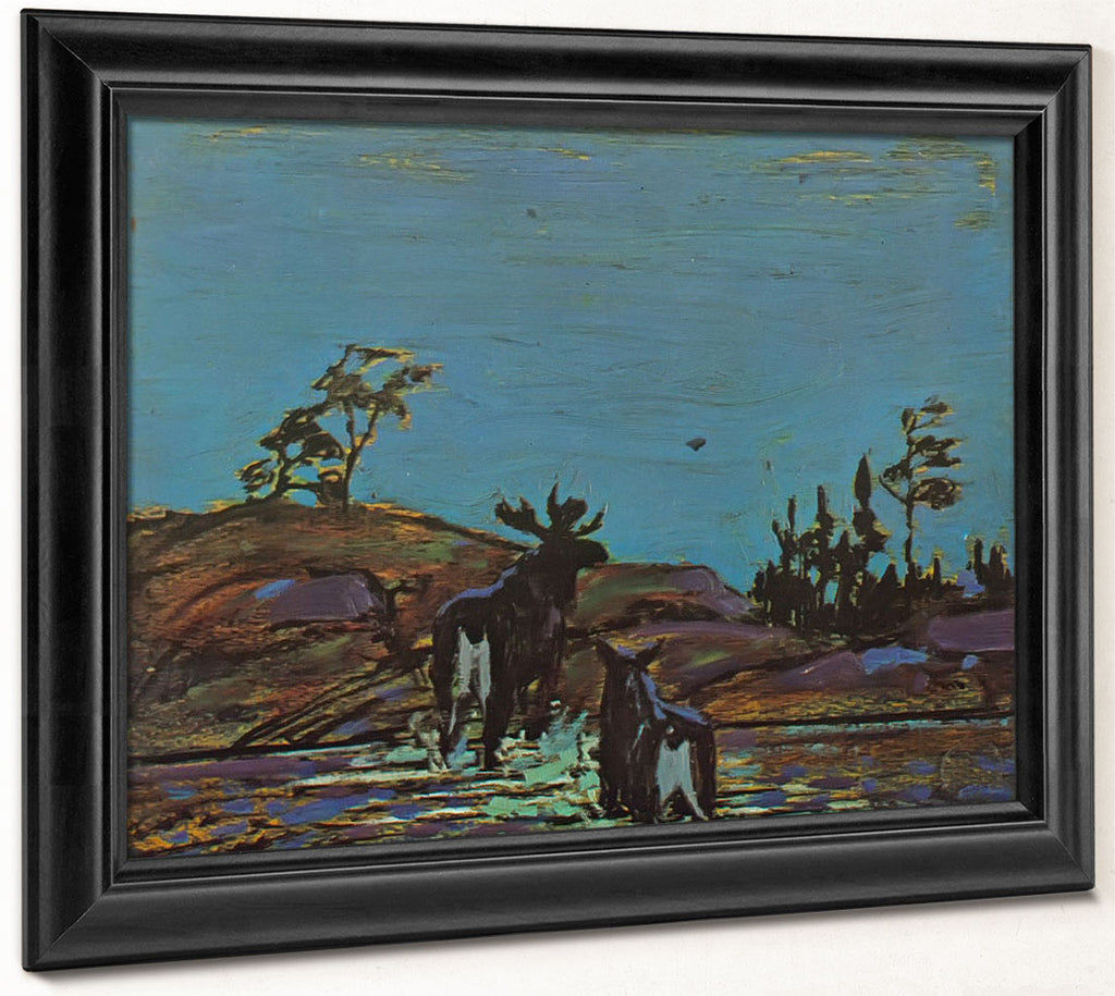 Moose At Night 2 By Tom Thomson