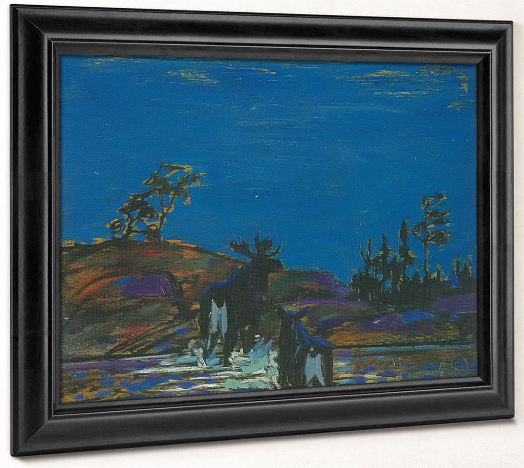 Moose At Night By Tom Thomson