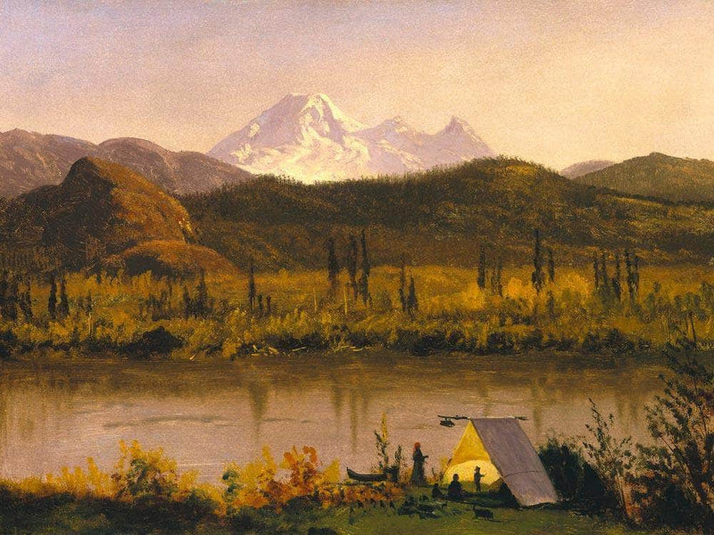 Mount Baker Washington From The Frazier River Encampment In The Rockies By Albert Bierstadt