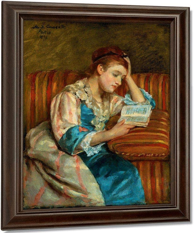 Mrs Duffee Seated On A Striped Sofa Reading By Cassatt Mary