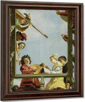 Musical Group On A Balcony By Gerrit Van Honthorst