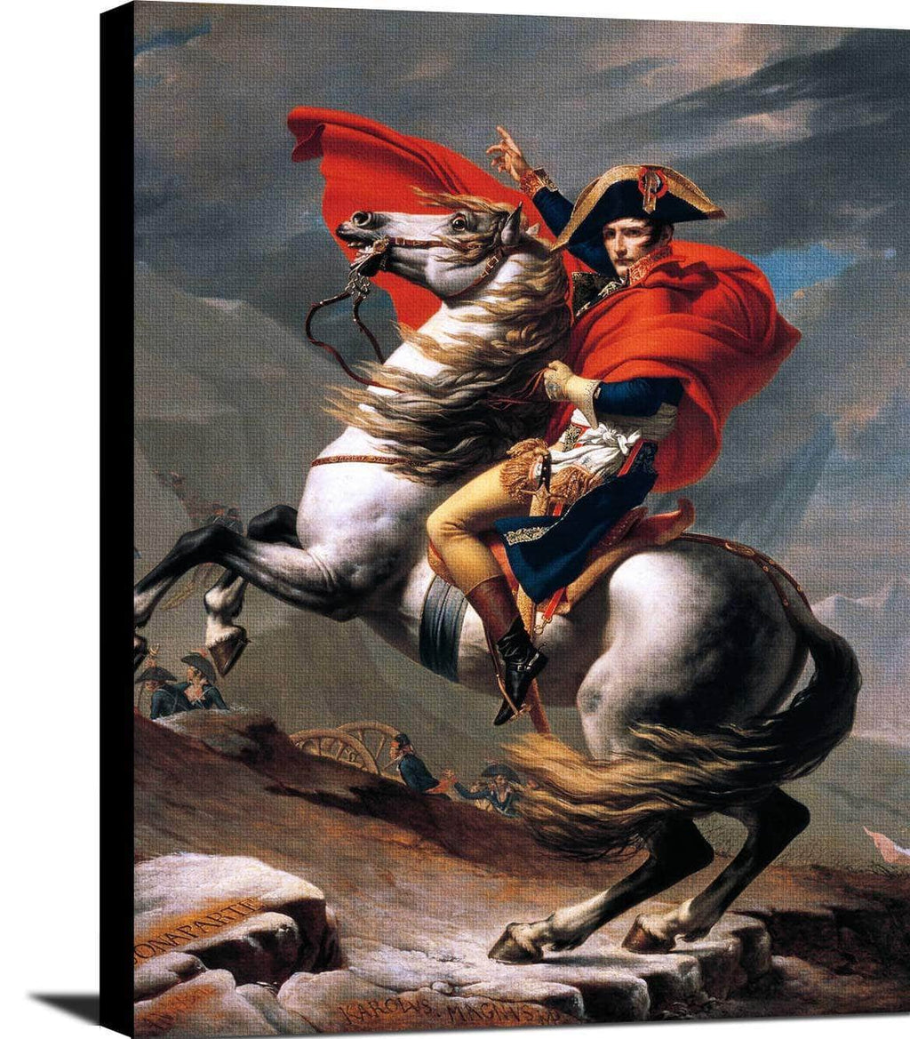 Napoleon Crossing The Alps Painting Jacques Louis David Canvas Art