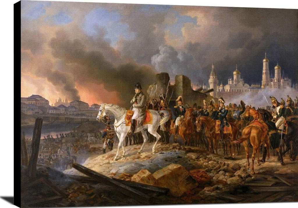 Napoleon In Burning Moscow Painting Adam Albrecht Canvas Art