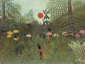 Negro Attacked By A Jaguar 1910 By Henri Rousseau
