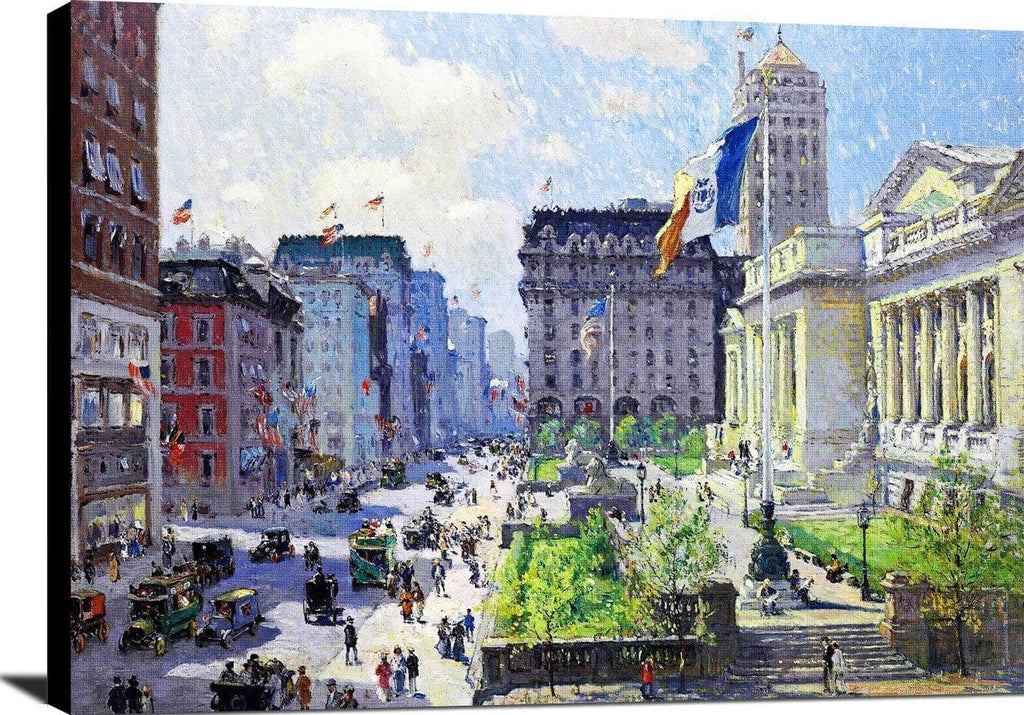 New York Public Library Painting Colin Campbell Cooper Canvas Art