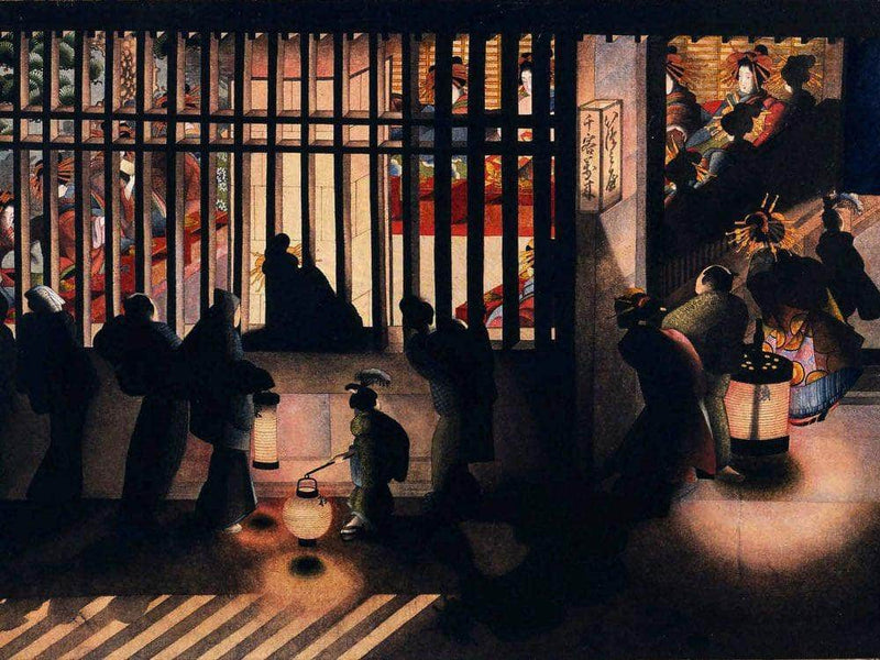 Night Scene In The Yoshiwara 1850 By Katsushika Oi