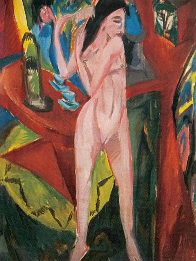 Nude Combing Herself By Ernst Ludwig Kirchner