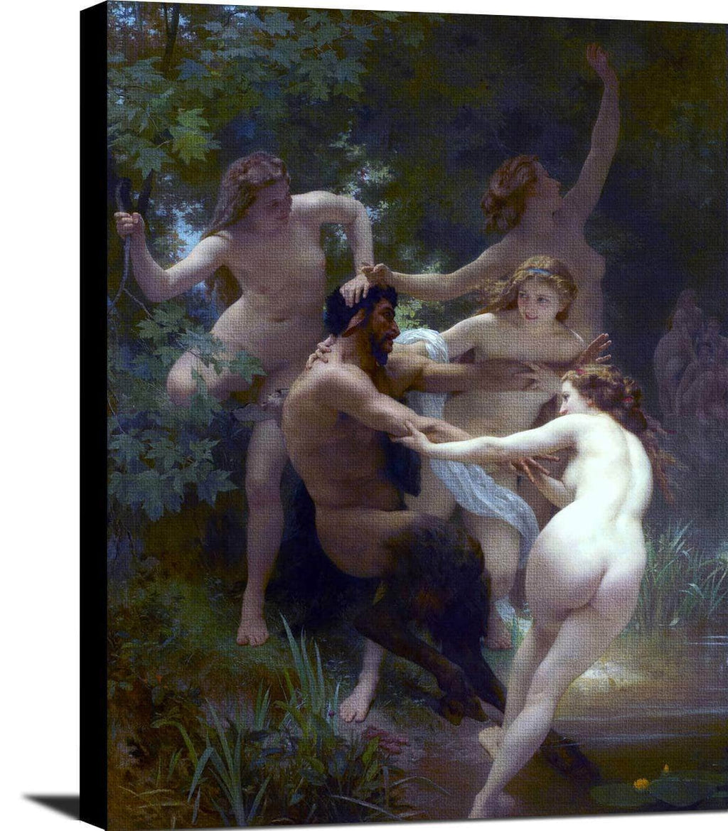 Nymphs And Satyr Painting William Adolpe Bouguereau Canvas Art