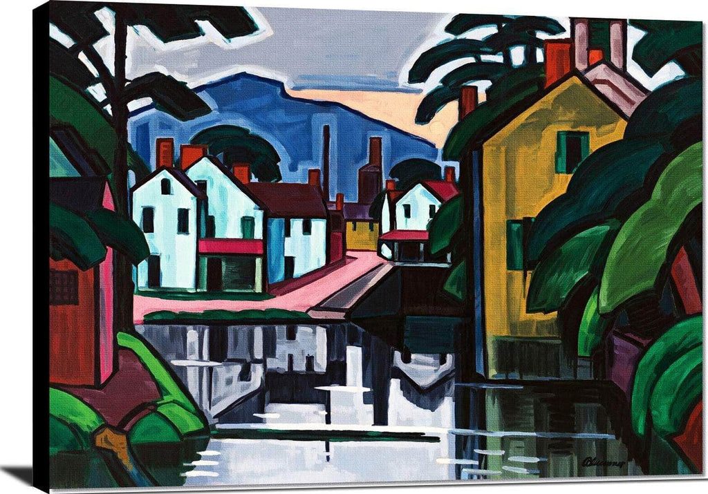 Old Canal Port Painting Oscar Bluemner Canvas Art