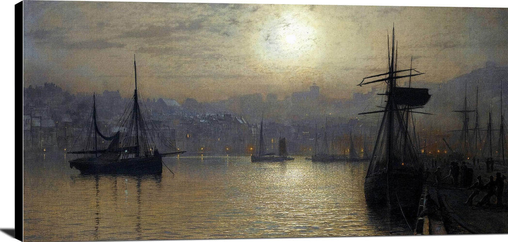 Old Scarborough, Full Moon, High Water Painting John Grimshaw Canvas Art