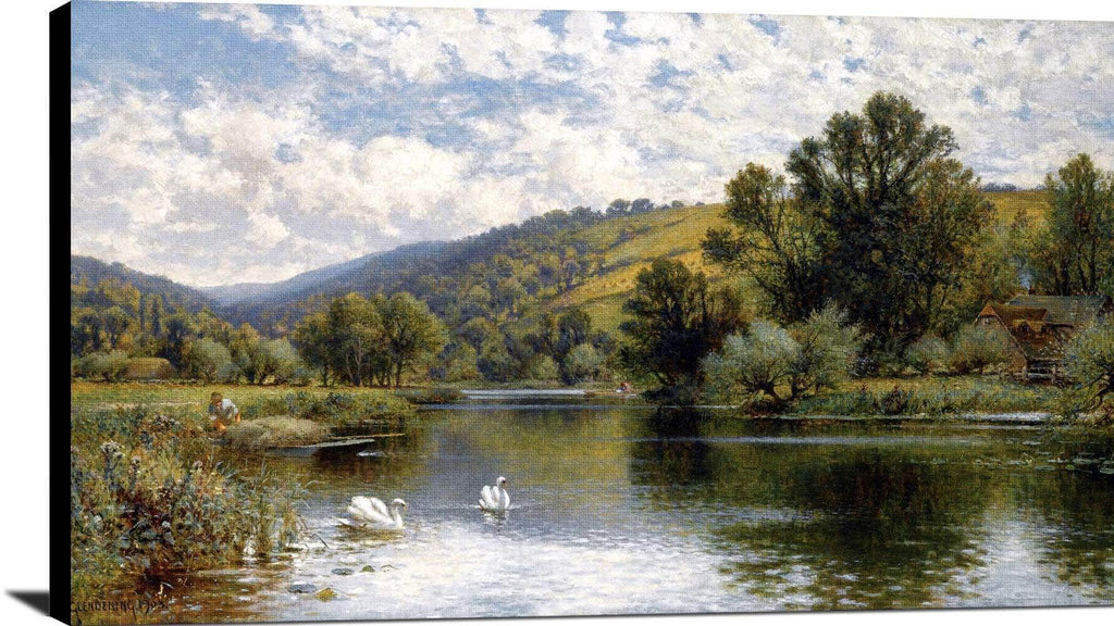 On The Thames Painting Alfred Augustus Glendening Canvas Art