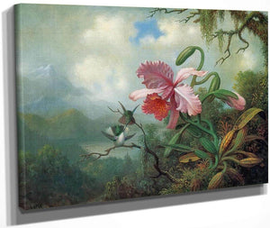 Orchid And Hummingbirds Near A Mountain Lake By Martin Johnson Heade