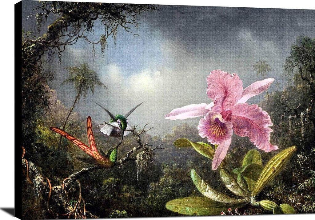 Orchid With Two Hummingbirds Painting Martin Johnson Heade Canvas Art