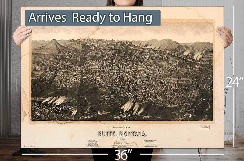 Panoramic View Of Butte Montana 1904 Population 60000 Altitude Near Gov Bldg 6000 Feet Values Taken Out Of Butte Mines Over 600 Million Dollars, The Largest Mining Camp On Earth, A Model City With All Modern Institutions And Co Vintage Map