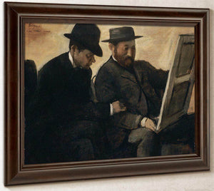 Paul Lafond And Alphonse Cherfils Examining A Painting By Edgar Degas