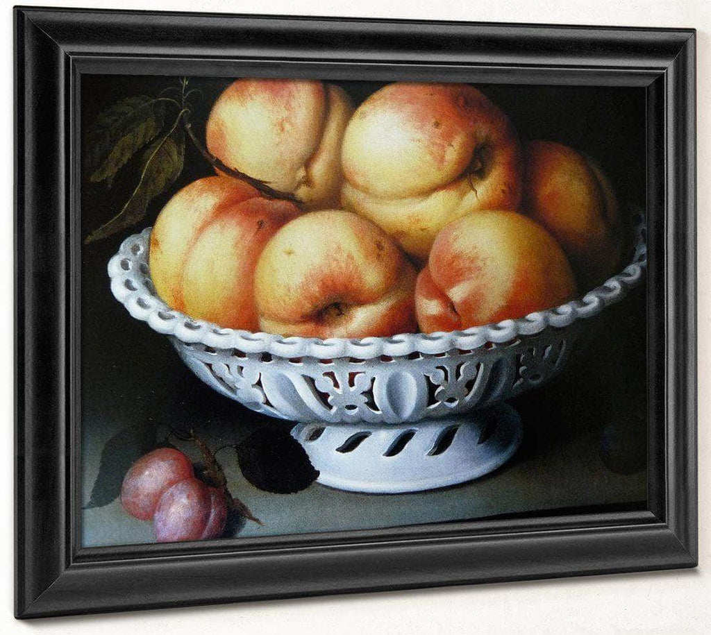 Peaches In A White Ceramic Basket 1602 By Fede Galizia