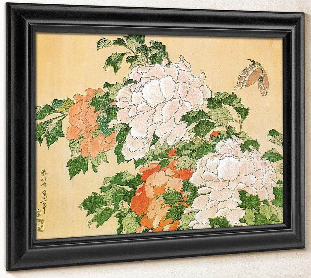 Peonies And Butterfly By Hokusai