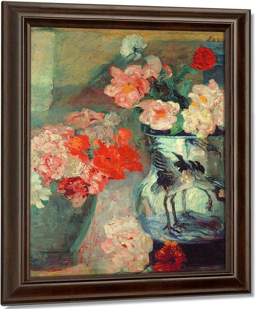 Peonies And Poppies By James Ensor