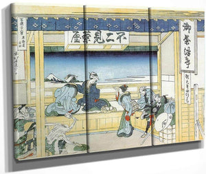 People Admiring Mount Fuji From A Tea House At Yoshida By Hokusai