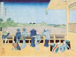 People On The Balcony Of The Temple Of Gohyakurakan By Hokusai