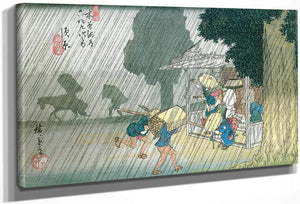 People Seeking Shelter From The Rain  By Hiroshige
