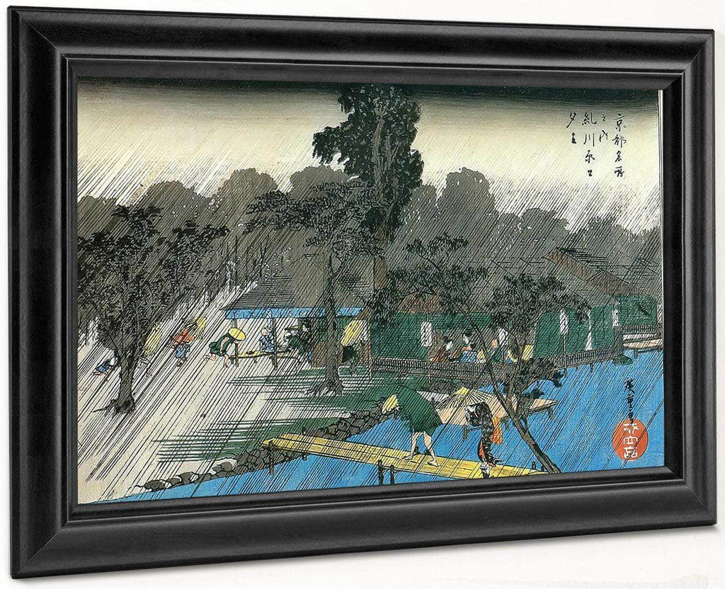 People Swheltering From The Rain By Hiroshige