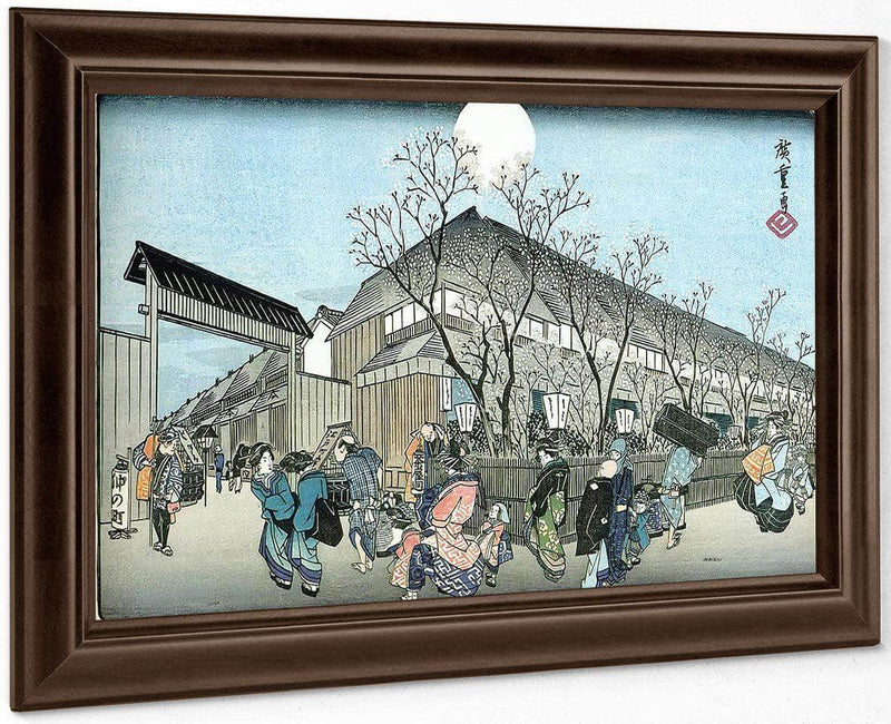 People Walking Under Cherry Trees At Night By Hiroshige