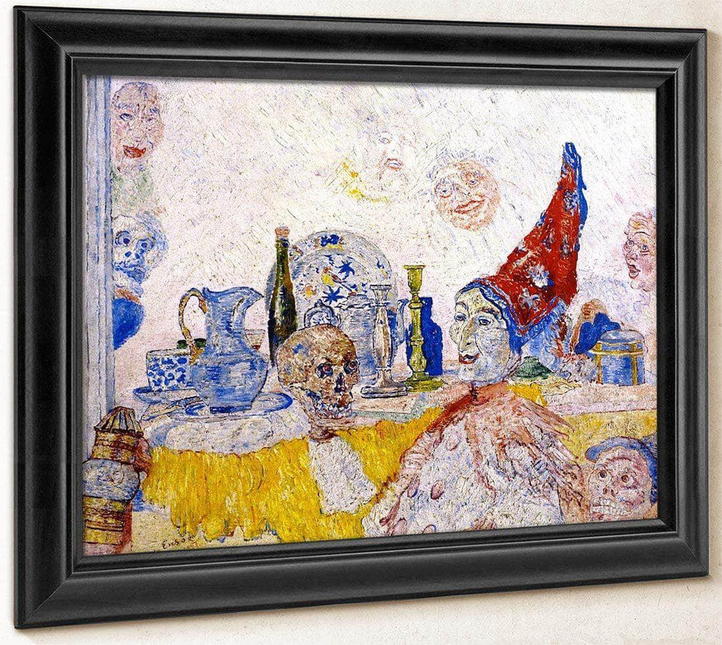 Pierrot And Skeleton In A Yellow Robe By James Ensor