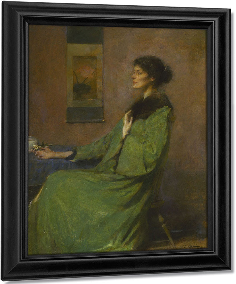 Portrait Of A Lady Holding A Rose By Thomas Wilmer Dewing