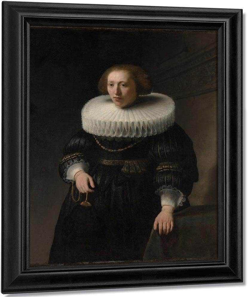 Portrait Of A Woman Probably A Member Of The Van Beresteyn Family By Rembrandt