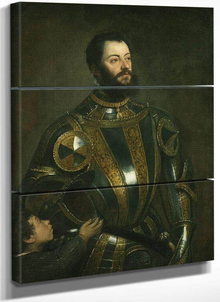 Portrait Of Alfonso D'avalos Marchese Del Vasto In Armor With A Page By Titian