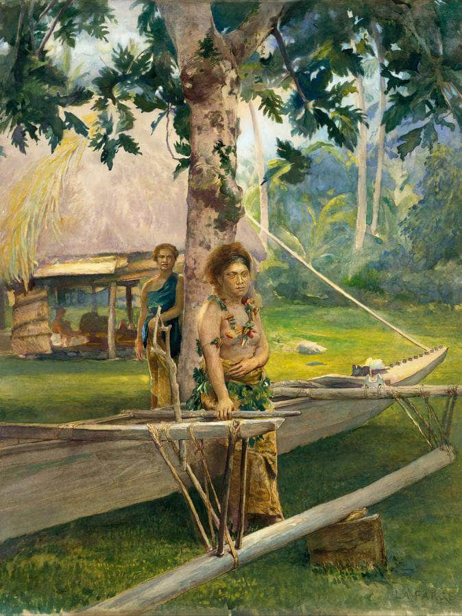 Portrait Of Faase The Taupo Or Official Virgin Of Fagaloa Bay And Her Duenna Samoa By John La Farge