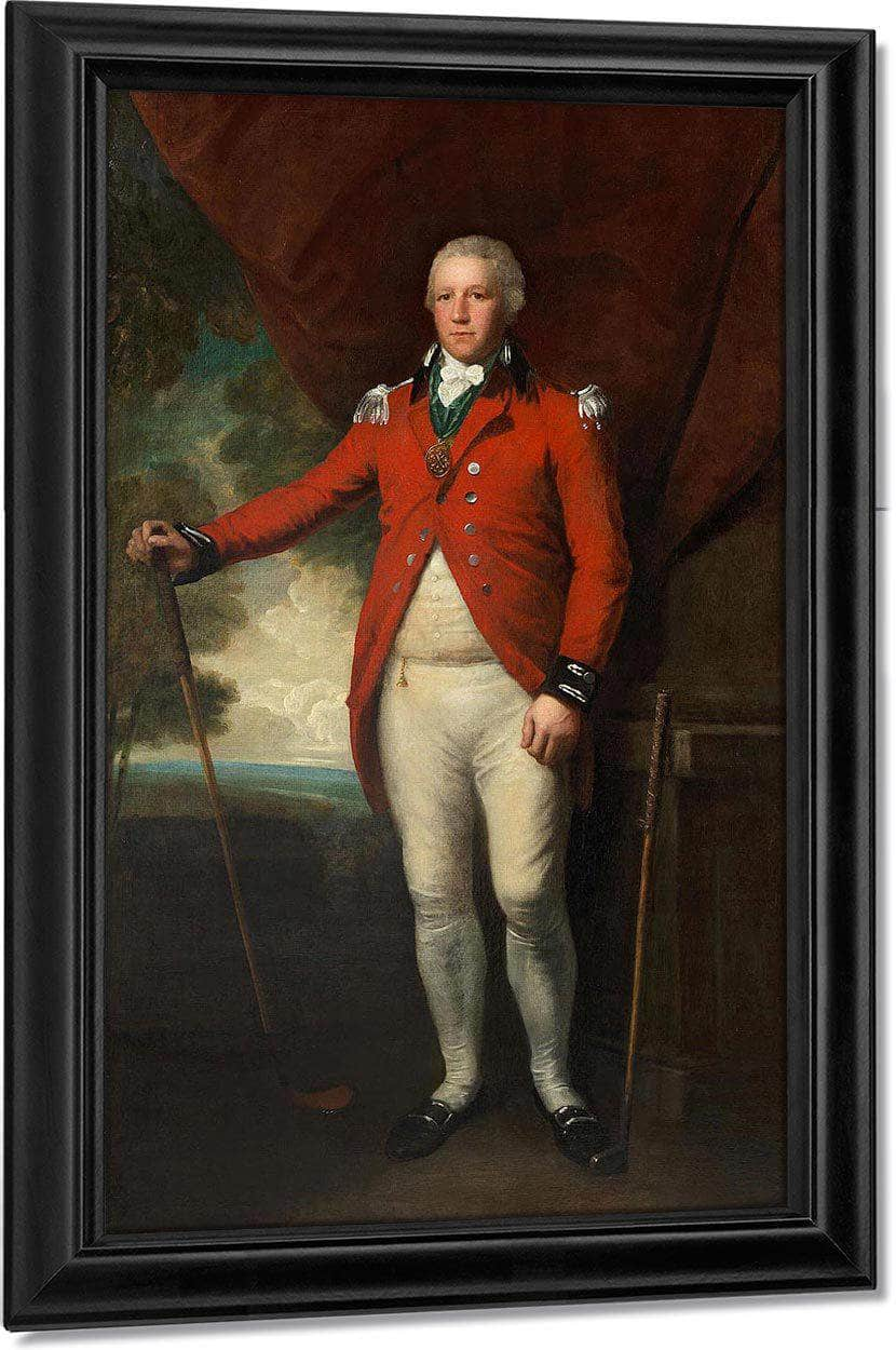 Portrait Of Henry Callender Standing Full Length In A Landscape In The Attire Of Captain General Of The Blackheath Golf Club, Holding A Wooden Headed Spoon With A Metal Headed Blade Putter By His Side By William Henry Walker