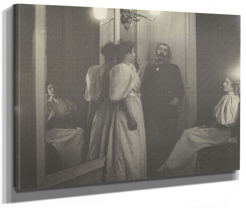 Portrait Of Henry Lerolle With Two Of His Daughters, Yvonne And Christine And A Mirror By Edgar Degas