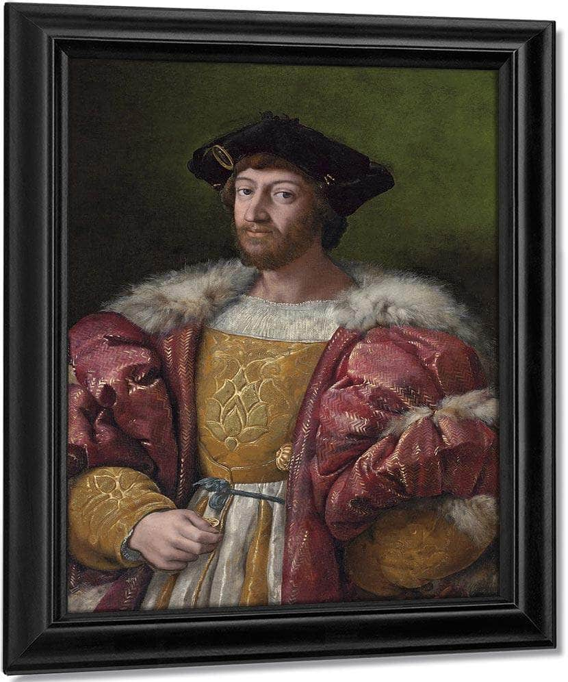 Portrait Of Lorenzo De Medici Duke Of Urbino Holding A Gold Box By Raphael
