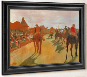 Race Horses In The Front Of The Stands By Edgar Degas