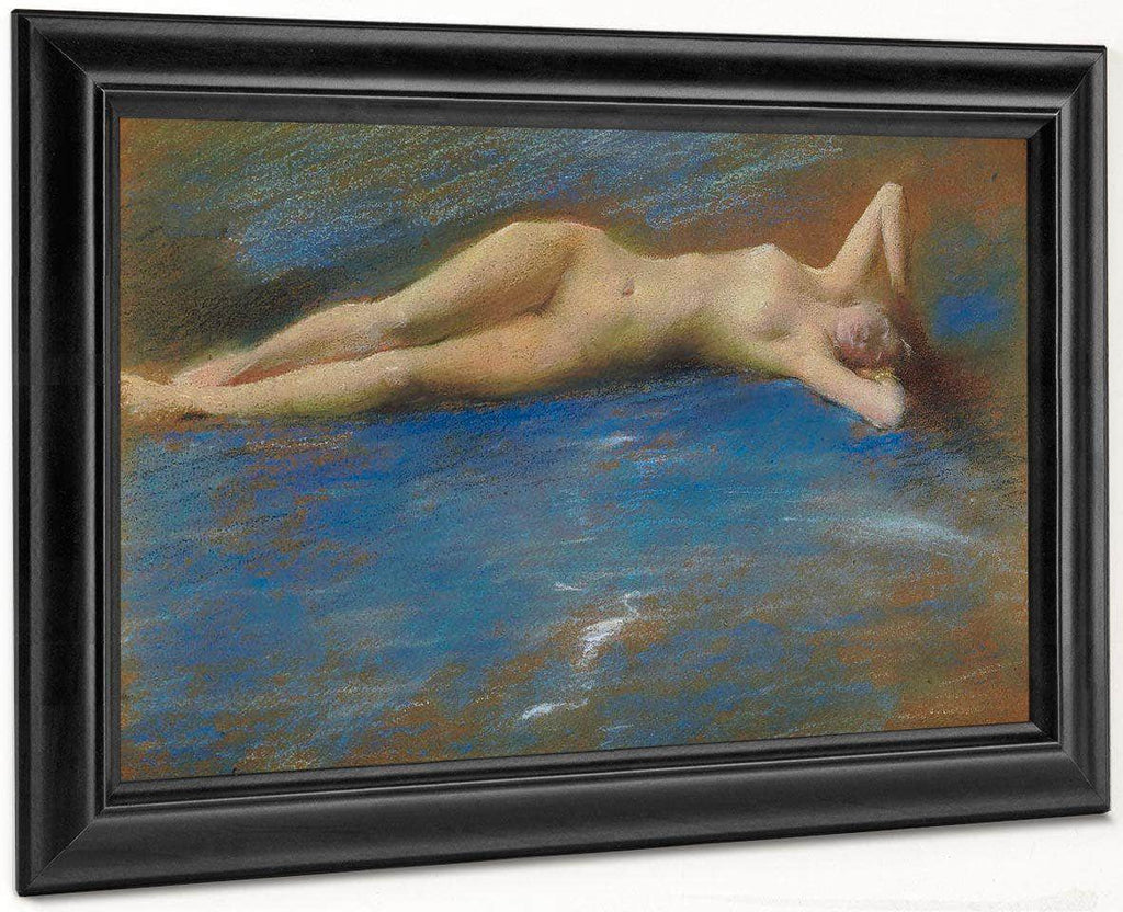 Reclining Nude Figure Of A Girl By Thomas Wilmer Dewing