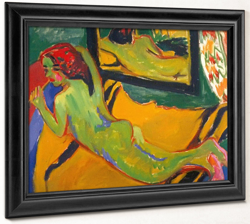 Reclining Nude In Front Of The Mirror ( With Pipe) By Ernst Ludwig Kirchner